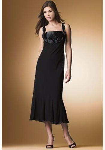 4356f79fd40a Čierne midi šaty s korálkami na ramienka 033NM
