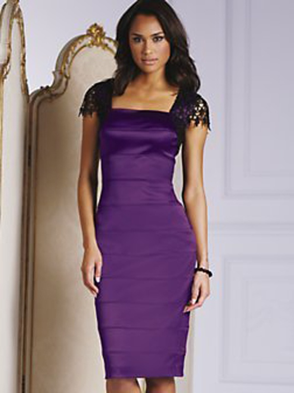 1eea96a7b Fialové midi úzke šaty s čipkovaným krátkym rukávom 071 - Salón Emily