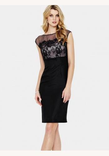 bcd9bdb78e25 Čierne midi šaty s čipkou bez rukávov 078