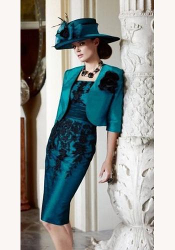 d2b9336a9795 Modré midi šaty s čipkou s bolerom s 3 4 rukávom 094