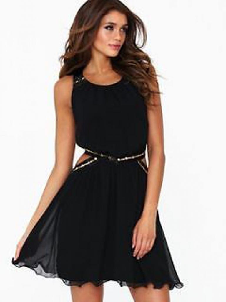 b8661fcb25b8 Čierne mini šaty na ramienka 109 - Salón Emily