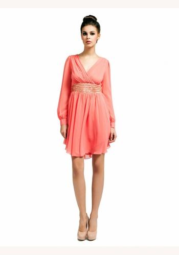 5540afdb8b79 Ružové mini šaty s výstrihom s dlhým rukávom 121