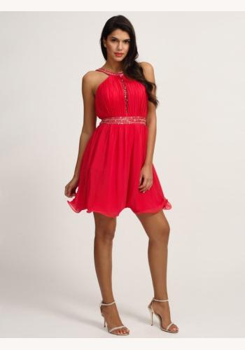 Červené mini šaty so zapínaním okolo krku 123 8632e50ecb