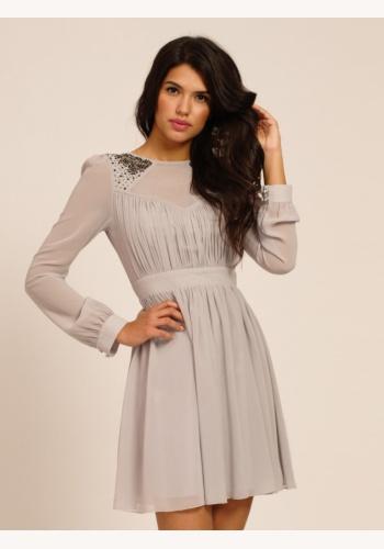 0001a0a51d5d Fialové mini šaty s dlhým rukávom 125