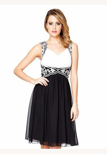 Bielo-čierne mini šaty na ramienka 137 96f9c7fe087