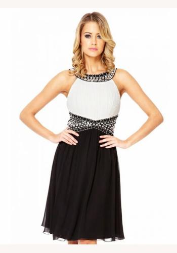 00669c4cabb6 Bielo-čierne mini šaty bez rukávov 138a