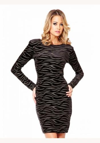 d842845c6360 Čierne midi šaty s potlačou s dlhým rukávom 140