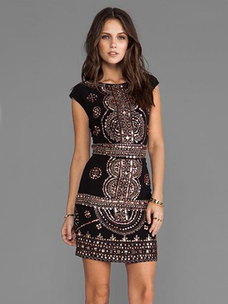 Čierne mini šaty s potlačou s krátkym rukávom 145 c9eeabd055b