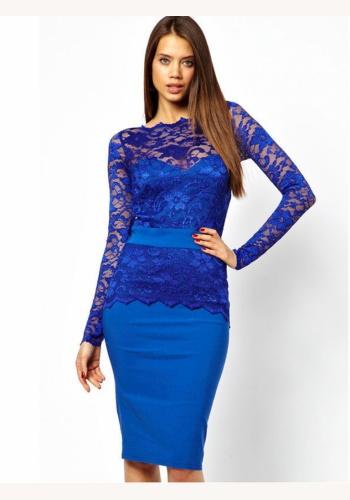 0b912e6734e1 Modré midi šaty s čipkou s dlhým rukávom 160E