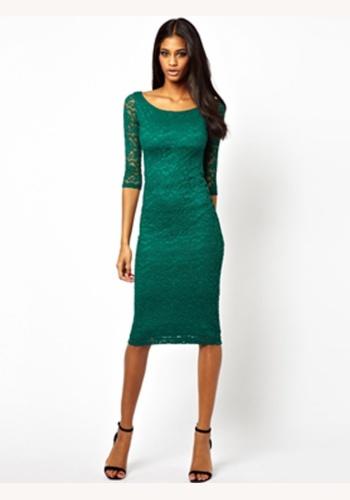 522a50ce047b Zelené midi čipkované šaty s 3 4 rukávom 162a