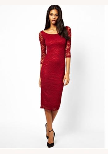 a59b403fa9cf Červené midi čipkované šaty s 3 4 rukávom 162d