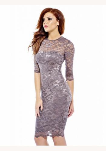 ce08dfefb5a9 Fialové mini čipkované šaty s 3 4 rukávom 167a