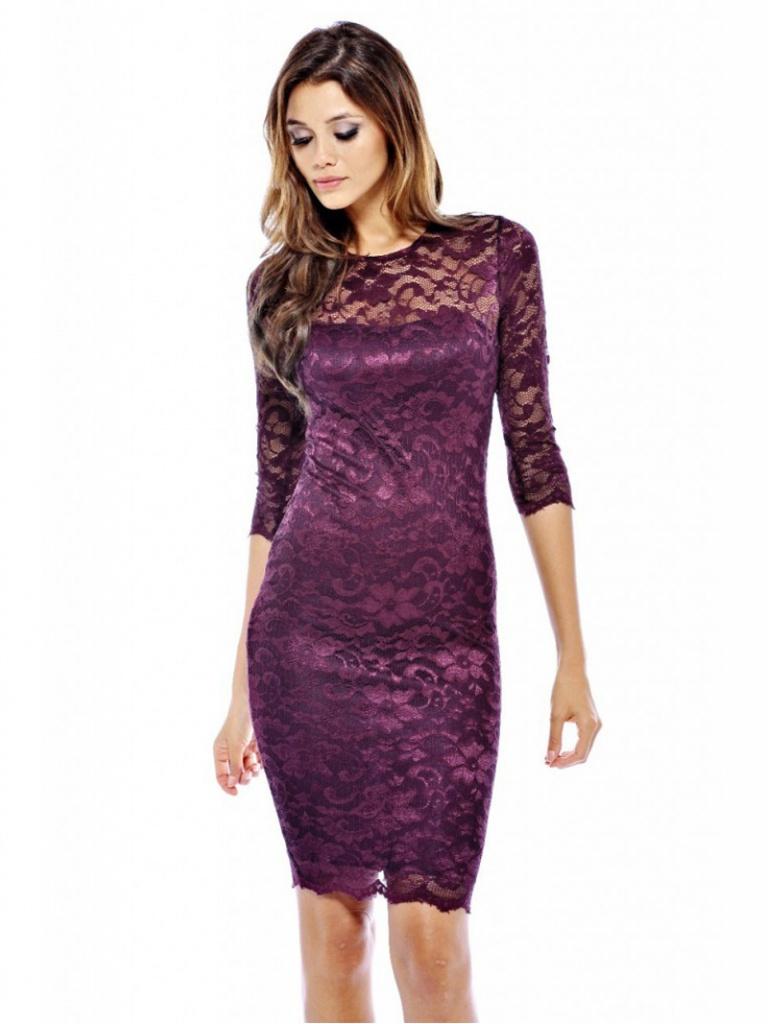 c09fcc3a5 Fialové mini čipkované šaty s 3/4 rukávom 167b - Salón Emily