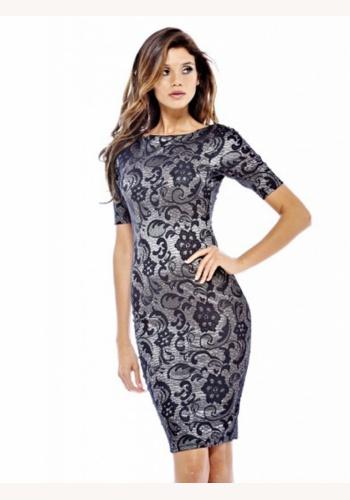 71322206d5d4 Čierne mini šaty s čipkou s dlhým rukávom 171. Šedé midi úzke šaty s  potlačou s krátkym rukávom 170
