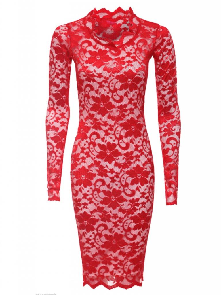 0af2ef922875 Červeno-biele midi čipkované šaty s dlhým rukávom 173 - Salón Emily