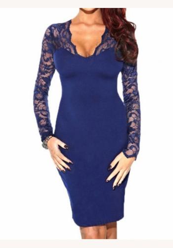 aa56c96b3afa Modré midi šaty s čipkou s dlhým rukávom 174E