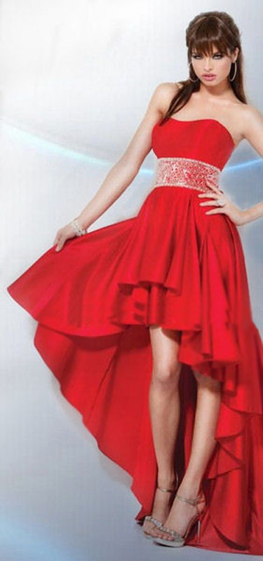 a369cf181515 Červené vpredu krátke vzadu dlhé korzetové šaty 072 - Salón Emily