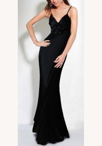 b9206bc37fd6 Čierne dlhé saténové šaty na ramienka morská panna 099