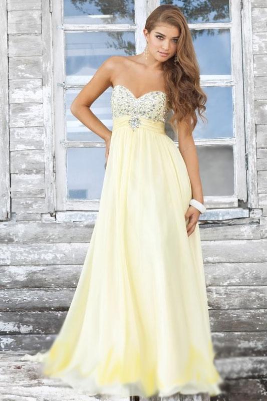 44ed3a764bdd Svetložlté dlhé korzetové šaty s kamienkami 102 - Salón Emily