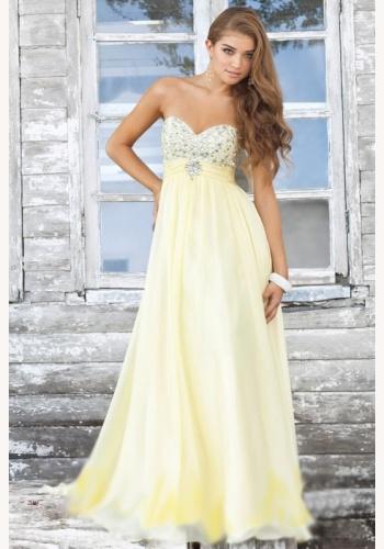 364a3f55c420 Svetložlté dlhé korzetové šaty s kamienkami 102