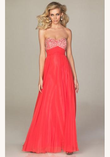 24e620f4bee6 Koralové dlhé korzetové šaty s flitrami s plisovanou sukňou 140