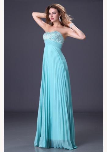 8458d2ff7bd3 Modré dlhé korzetové šaty s flitrami s plisovanou sukňou 140a