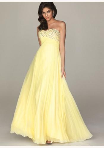 77b4f3e25682 Žlté dlhé korzetové šaty s flitrami s plisovanou sukňou 140b
