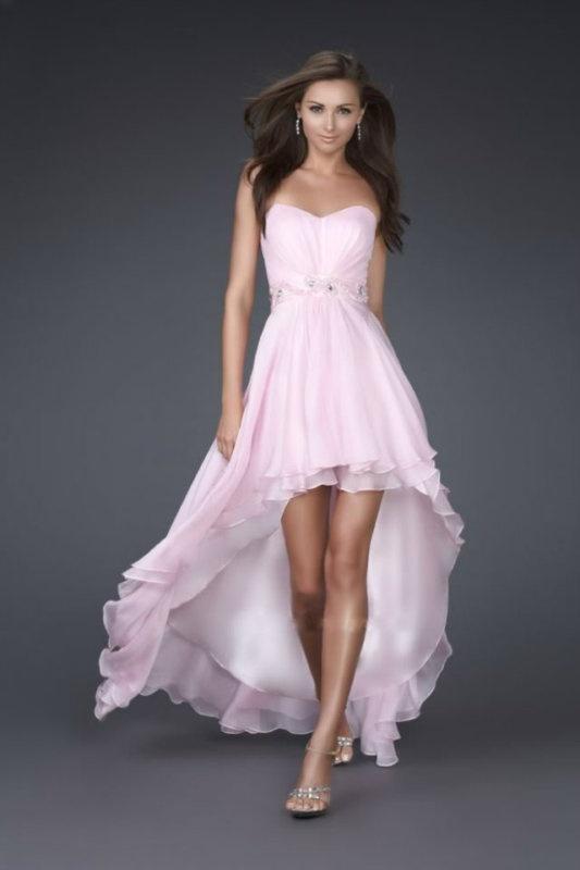 55e154669330 Ružové vpredu krátke vzadu dlhé korzetové šaty 146W - Salón Emily