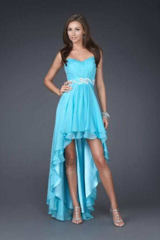 0996b6a00b3f Modré vpredu krátke vzadu dlhé korzetové šaty 146Wa - Salón Emily