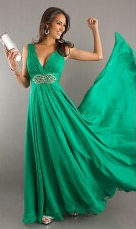 Zelené dlhé šaty s výstrihom na ramienka 149 510ab197a18