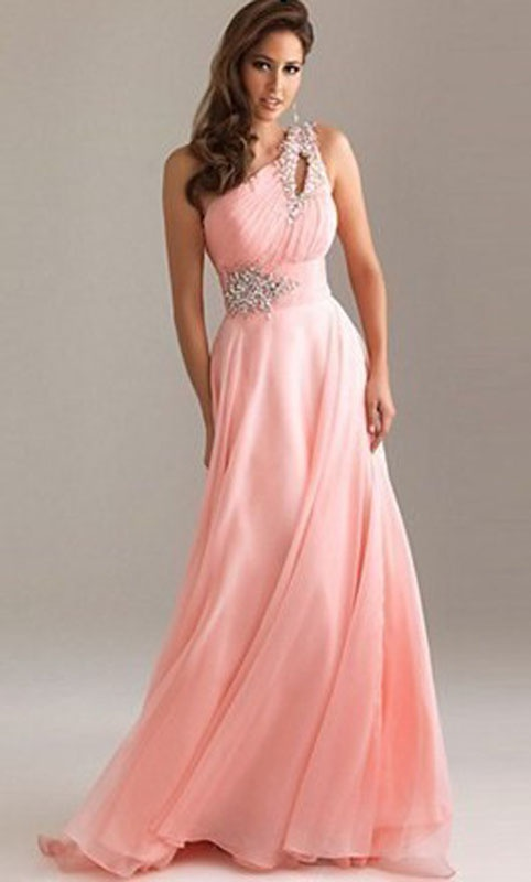 Broskyňové dlhé šaty s flitrami na jedno rameno 199Ea 8f6ce26af3