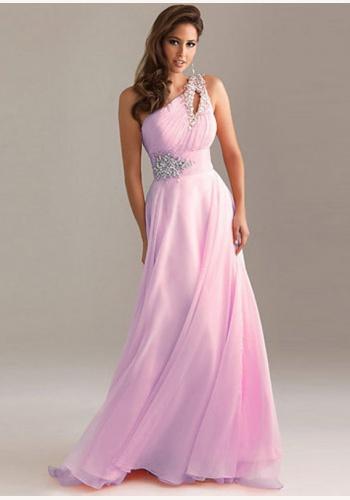 908fd41c56f6 Ružové dlhé šaty s flitrami na jedno rameno 199Eb