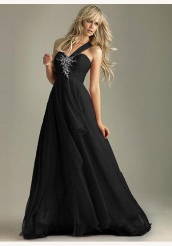 Čierne dlhé šaty s flitrami na jedno rameno 214Ea 9d5e555d09