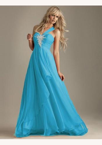 0f7ddcd61997 Modré dlhé šaty s flitrami na jedno rameno 214Ec