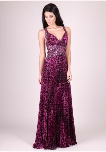 Fialové dlhé šaty s tigrovaným vzorom na ramienka 249 4e32f168fef