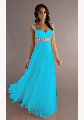 Svetlomodré dlhé šaty s flitrami na ramienka 258Ec 88ebd53675