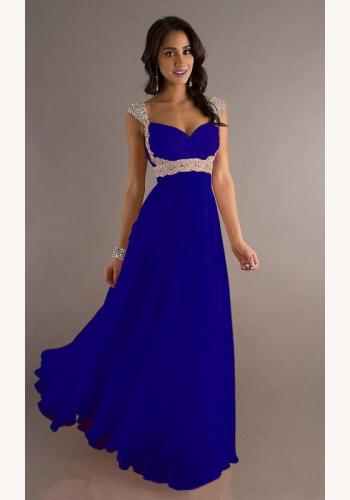 Modré dlhé šaty s flitrami na ramienka 258Ed 61af985afb