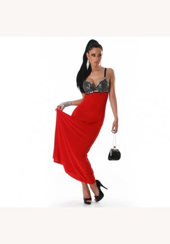 Červené dlhé úzke šaty s flitrami na ramienka 263ME 1dcb438ff5