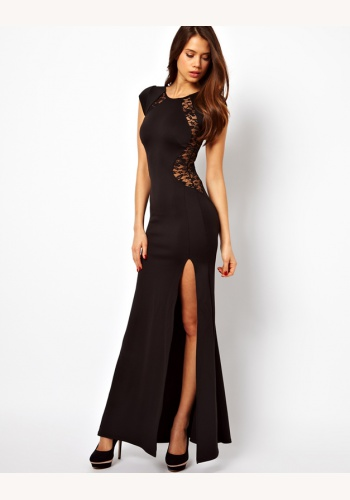 996594732054 Čierne dlhé úzke šaty s rozparkom a s čipkou s krátkym rukávom 264TC