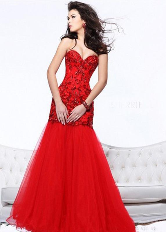 32de4df1b13b Červené dlhé korzetové šaty morská panna 281 - Salón Emily