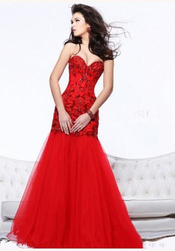 a180bd058a6e Červené dlhé korzetové šaty morská panna 281