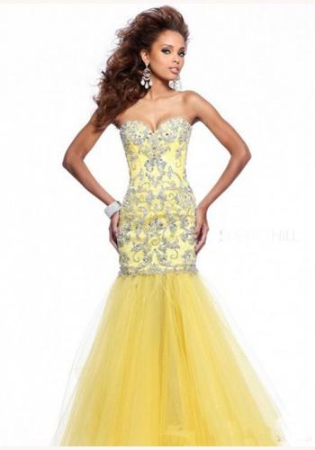 5c6791dedae9 Žlté dlhé korzetové šaty morská panna 281a