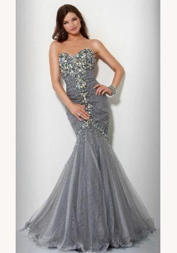 b54d340b7c52 Šedé dlhé korzetové šaty morská panna 292