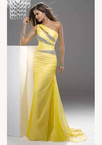 616b4f30dcc1 Žlté dlhé šaty s flitrami na jedno rameno 293