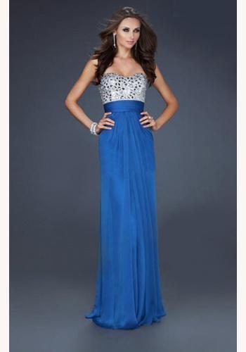 Modré dlhé korzetové šaty s kamienkovým topom 297 a4a6b783670