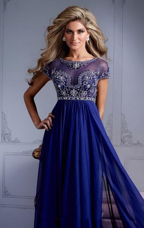 73f79dbd1 Modré dlhé šaty bez výstrihu s krátkym rukávom 298 - Salón Emily