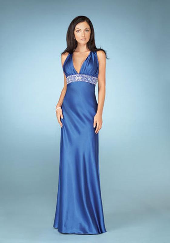 b2193e7ac331 Modré dlhé saténové šaty s výstrihom so zapínaním okolo krku 299 ...