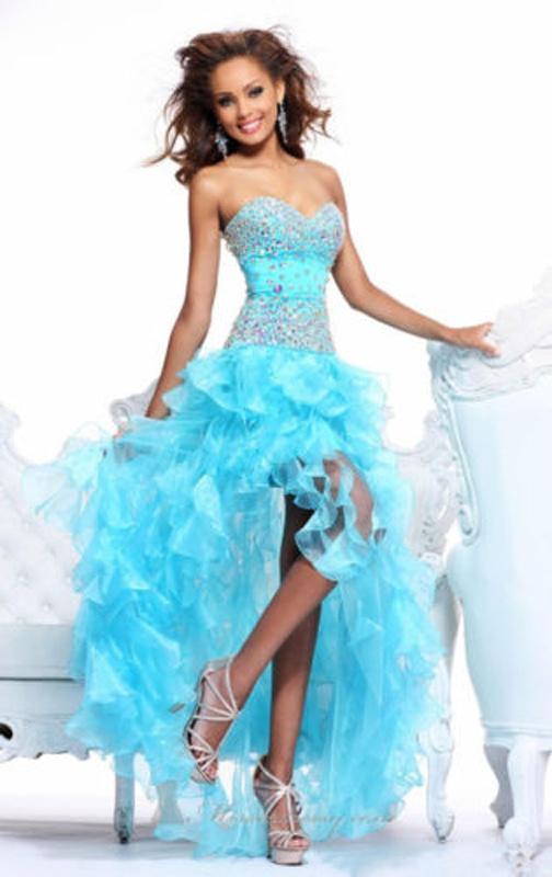 a6b81d1dee1c Modré vpredu krátke vzadu dlhé korzetové šaty 300 - Salón Emily