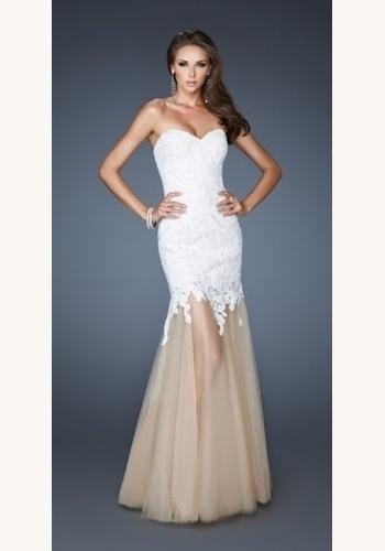 c01fc4943e22 Biele dlhé korzetové šaty s čipkou morská panna 313