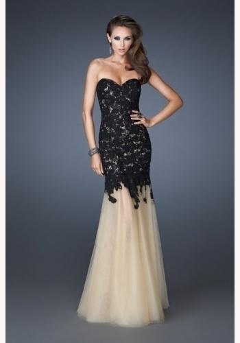 d8626761315e Čierne dlhé korzetové šaty s čipkou morská panna 313a